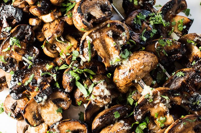 grilled garlic butter mushrooms grilled gochujang pork chops with ...
