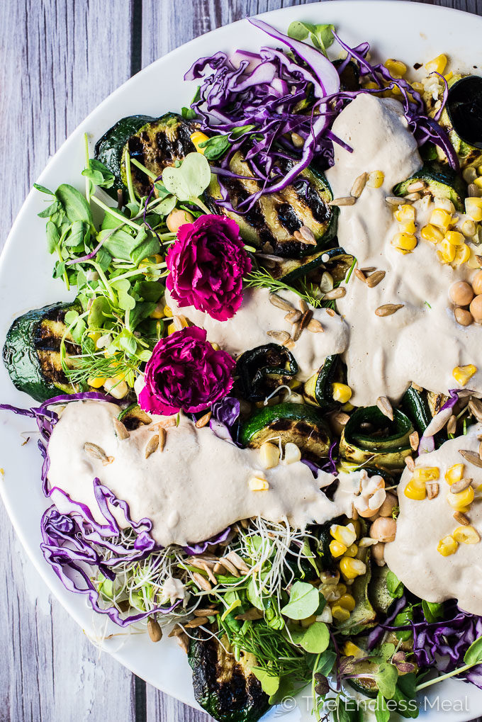 Grilled zucchini salad with sunflower seed dressing on a white plate.