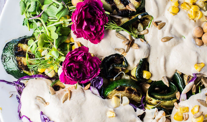 I have been told that this Grilled Zucchini Salad is THE BEST salad ever. It's loaded with summertime favorites like grilled zucchini and corn, alfalfa sprouts, purple cabbage, and healthy chickpeas and tossed in a super creamy and easy to make sunflower seed dressing. It's a healthy side dish that is naturally vegan + gluten-free.   theendlessmeal.com