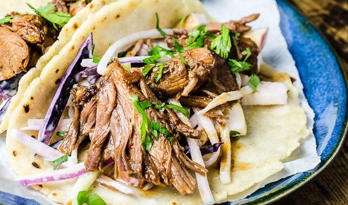 Pulled Pork Tacos with Chayote Squash and Apple Slaw | theendlessmeal.com