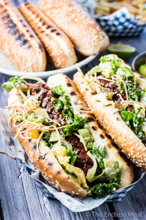 Tropical Lime Hot Dogs with Sweet and Spicy Mayo