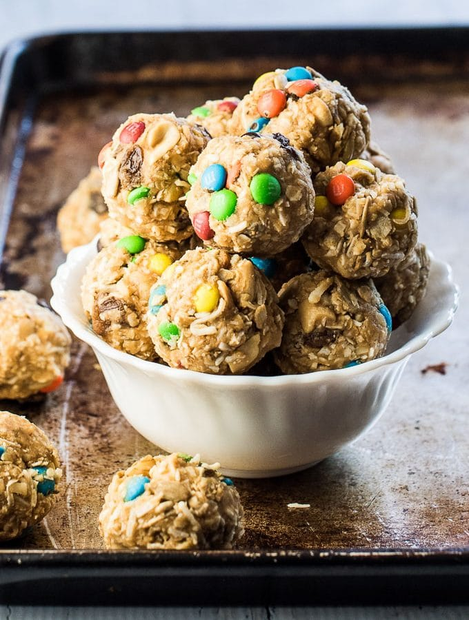 These easy to make Trail Mix Protein Bites make a delicious treat for your weekend adventures or a healthy after school snack. They are naturally gluten-free and can easily be made vegan. Everyone will LOVE this recipe! | theendlessmeal.com