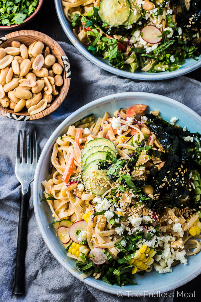 This healthy Thai Noodle Salad recipe is smothered in a crazy delicious feta peanut dressing and loaded with fresh summer veggies. It's an easy to make vegetarian main or side dish that can be served hot or cold. You will LOVE it! | theendlessmeal.com