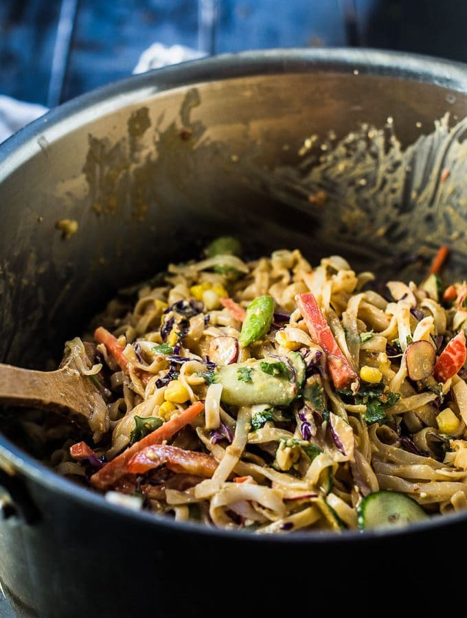 Thai Noodle Salad with Feta Peanut Dressing