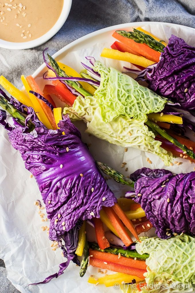 These super colorful VeggieRainbow Wraps are served with an easy to make peanut dipping sauce and are as delicious as they are healthy. They're a playful way to serve a veggie tray at a party and make an easy and healthy afternoon snack. They'renaturally vegan + gluten-free and can be made paleo + Whole30 compliant if you use almond butter. Win!   theendlessmeal.com