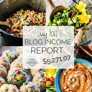 Food Blog Income Report for July 2017. Learn traffic building and blog monetization strategies used by The Endless Meal. | theendlessmeal.com