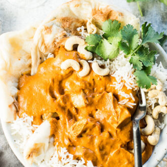 This delicious Cashew Butter Chicken is as good as it gets. By using cashews instead of cream, this recipe is as rich and creamy as any restaurant-style butter chicken, but it's so much healthier for you. It's easy to make and a naturally dairy-free + paleo + Whole30 compliant recipe that EVERYONE will love.  | theendlessmeal.com