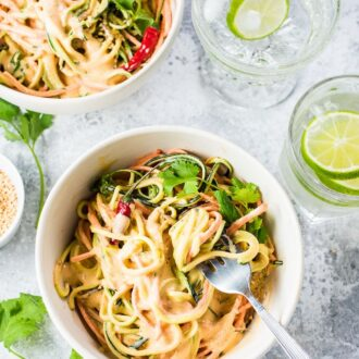 Say no to cooking with these No Cook Coconut Curry Veggie Noodles! The vegetable noodles are smothered in a delicious and easy to make coconut curry sauce that softens them without having to turn on the stove. This healthy 20-minute dinner recipe is ideal for summer. It's also vegan + gluten-free + paleo + Whole30 compliant. | theendlessmeal.com