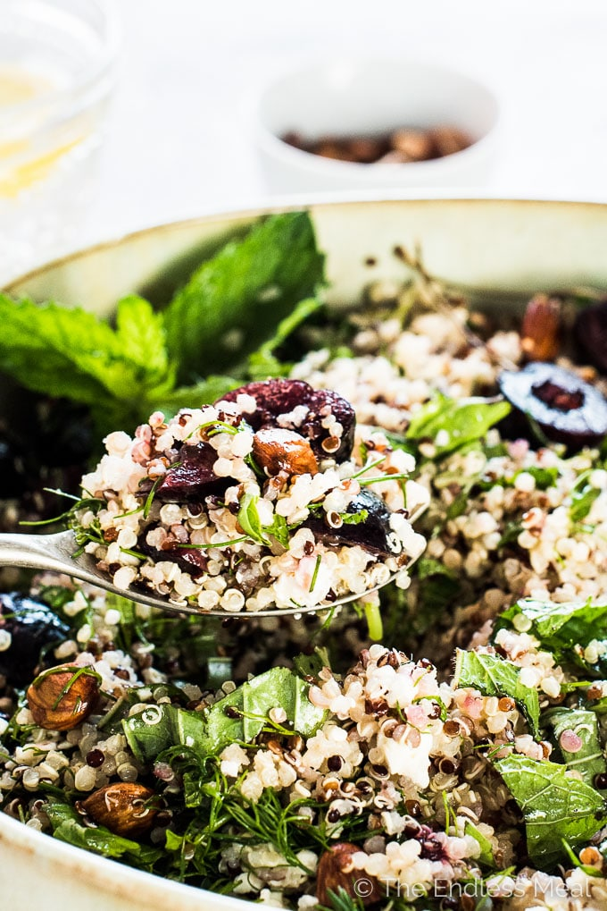 This light and fresh Summer Quinoa Salad is perfect for a hot sunny day or dinner on the patio. It's loaded with sweet cherries, toasted almonds, feta cheese, and fresh herbs and tossed with a lemony dressing. Leftovers make a healthy and delicious lunch. It's a healthy vegetarian + gluten-free side dish that can easily be made vegan, too.   theendlessmeal.com