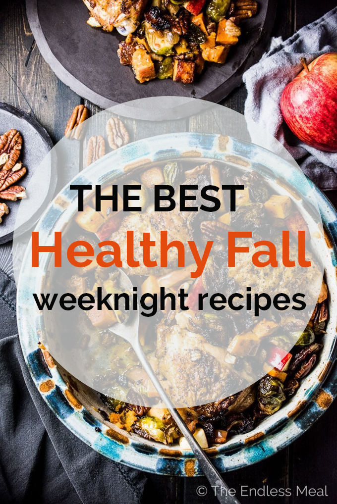 A chicken casserole with the words healthy fall weeknight recipes written on the top.