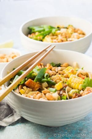 Autumn Sweet Potato Pad Thai with Corn, Brussels, and Kale