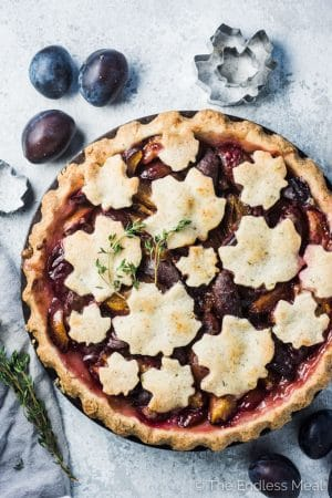 Autumn Prune Plum Pie with Almond Thyme Crust