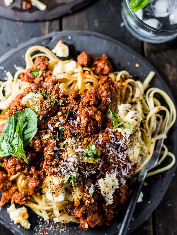 Spicy Chorizo Bolognese is off the charts delicious. From now on, bolognese should always be made with chorizo. It's an easy to make and healthy dinner recipe that is naturally gluten-free and can easily be made paleo + Whole30 compliant.  | theendlessmeal.com
