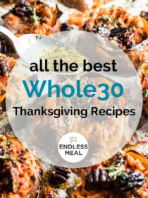 Sweet potatoes with the words All the best Whole30 Thanksgiving Recipes written on the top.