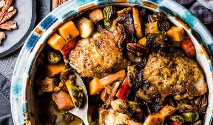 This delicious Bacon Apple Chicken is the perfect fall dinner recipe. The bacon and chicken are crisped on your stove top then everything gets nestled into a baking dish and roasted together. It's a healthy and easy to make recipe that is bursting with flavor. It's also gluten-free + paleo + Whole30 compliant.   theendlessmeal.com
