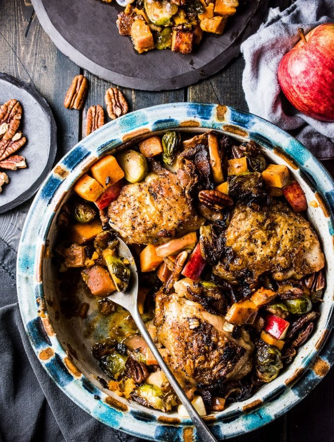 One Pan Bacon Apple Chicken with Sweet Potatoes and Brussels Sprouts