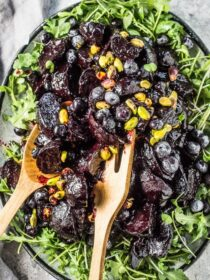 These insanely delicious Blueberry Balsamic Glazed Beets are a must for your Thanksgiving or Christmas table. Or heck, all winter long. The beets are roasted then coated in a sugar-free, sticky glaze made with frozen blueberries and balsamic vinegar. This healthy side dish recipe is also gluten-free + paleo + Whole30 compliant! | theendlessmeal.com