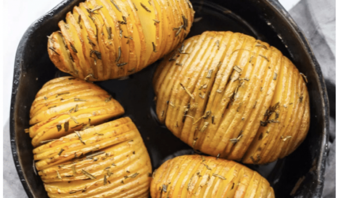 Hasselback Potatoes with Rosemary by Fun Without Fodmaps | The 15 Best Whole30 Christmas Recipes | #christmasrecipes #whole30 #whole30recipes #whole30christmas #paleo #paleochristmas #paleorecipes #dairyfree