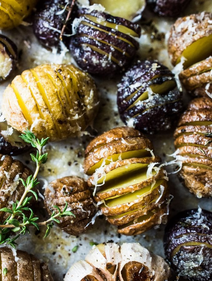 Mini Hasselback Potatoes with Roasted Garlic