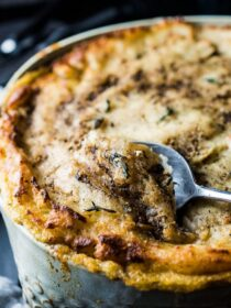 Love shepherd's pie? Me too! Especially this Mushroom Shepherd's Pie. It's full of mushrooms and your choice of ground meat (or vegetarian sub!) add topped with the most delicious brown butter potatoes. It's a healthy dinner recipe that is sure to please. | theendlessmeal.com