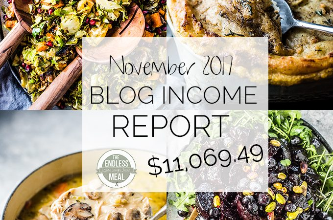 Food Blog Income Report for November 2017. Learn traffic building and blog monetization strategies used by The Endless Meal. | theendlessmeal.com | #incomereport #blogincome