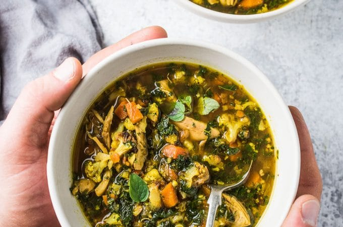 Want an easy to make dinner tonight and delicious leftovers for lunch all week? This healthy and delicious Curried Chicken Cauliflower Rice Soup recipe has your name on it. It's super simple to make and so flavorful. It's also paleo + Whole30 compliant. Dig in! | theendlessmeal.com