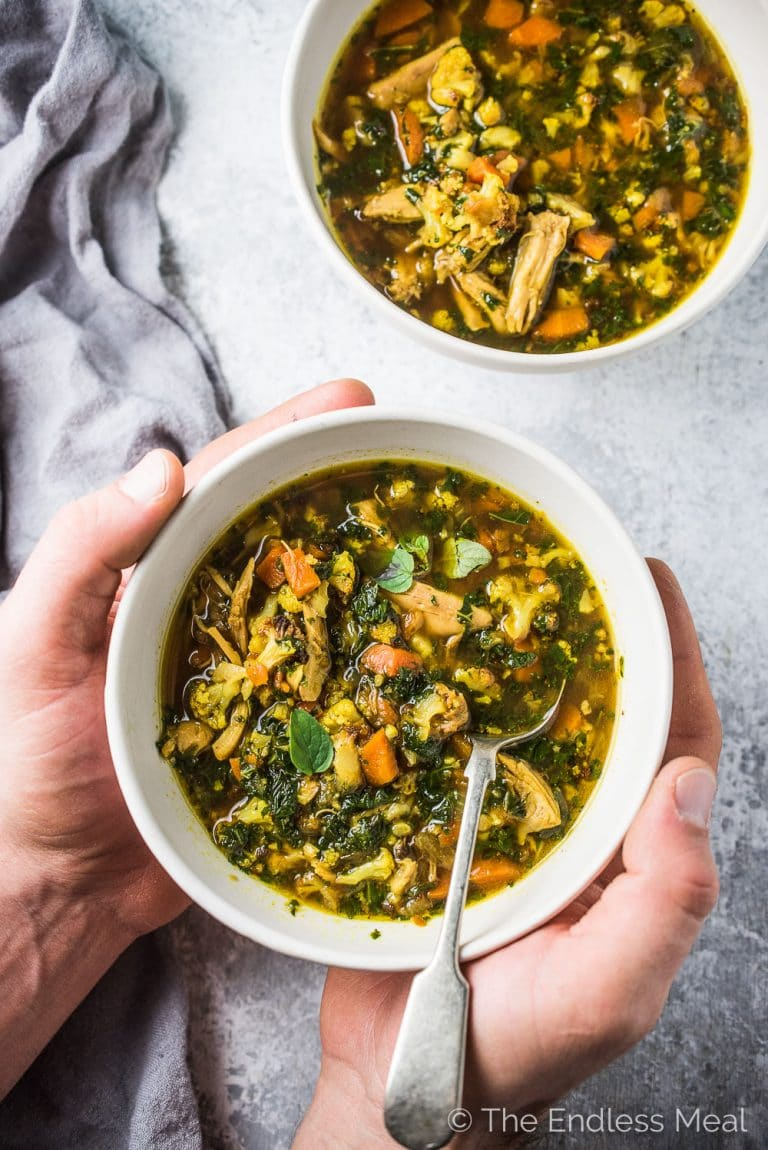 Want an easy to make dinner tonight and delicious leftovers for lunch all week? This healthy and delicious Curried Chicken Cauliflower Rice Soup recipe has your name on it. It's super simple to make and so flavorful. It's also paleo + Whole30 compliant. Dig in!   theendlessmeal.com
