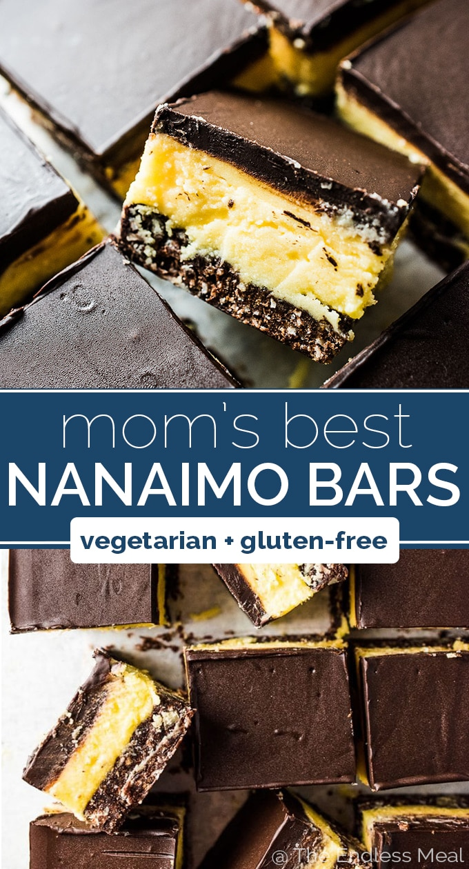 SAVE FOR LATER! Nanaimo Bars are a classic Canadian Christmas dessert. The holidays wouldn't be the same without them. This is my mom's recipe and it is less sweet than most. That's a good thing! They are made with a chocolate graham cracker, coconut, and walnut crust then topped with a layer of buttery custard and chocolate. They're amazing! #theendlessmeal #nanaimobars #naniamobars #crackbars #milliondollarbars #christmas #christmasbaking #holidaybaking #canadian #chocolate #glutenfree