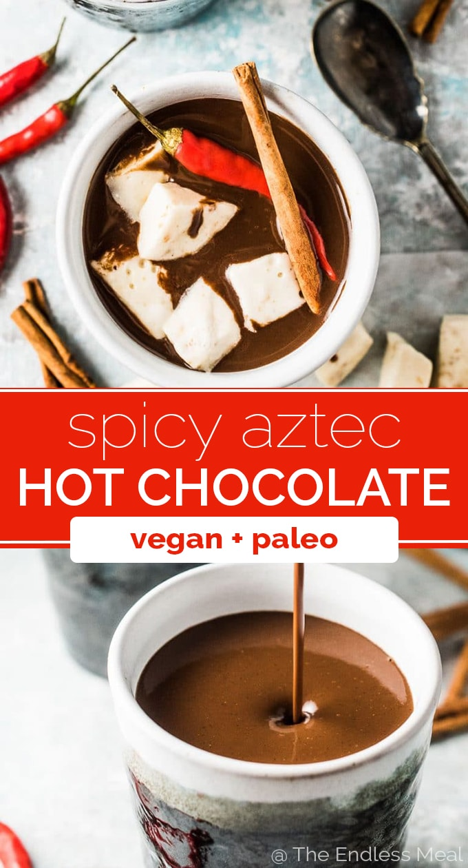 SAVE FOR LATER! Want the best hot cocoa recipe ever? I thought you might! This spicy Aztec Hot Chocolate is my all-time favorite. It's made with real chocolate, spiced with cinnamon and vanilla, and has a little kick from a chili pepper. It's the best! #theendlessmeal #hotchocolate #paleo #vegan #glutenfree #drink #drinkrecipes #chocolate #winter #christmas