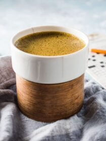 This delicious Coconut Turmeric Latte is the ultimate healthy indulgence. It tastes like a creamy dessert coffee but is so good for you. Don't worry, even though you don't taste the turmeric, you still get all of its health benefits. | theendlessmeal.com