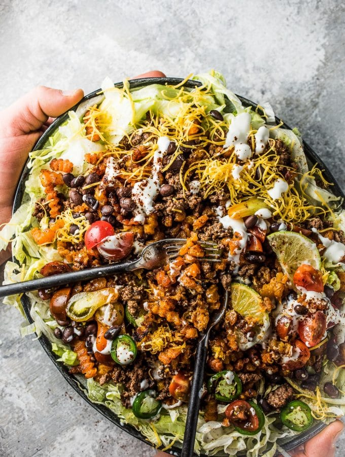 "Loaded Butternut Squash ""Rotini"" Taco Salad Fries"