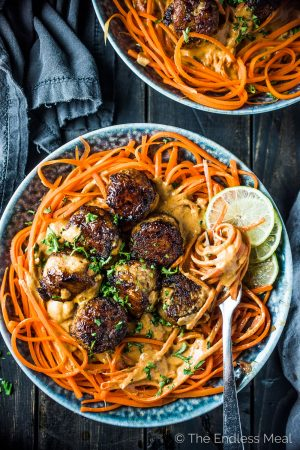 Thai Chicken Curry Meatballs with Carrot Noodles