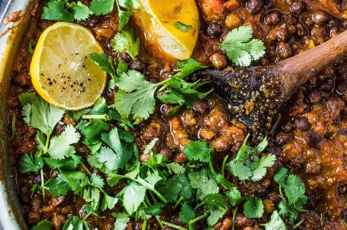 This delicious Black Chana Masala is an easy to make chickpea curry made with black chickpeas. It's bursting with flavor and is a healthy Meatless Monday vegan dinner recipe.  | theendlessmeal.com | #chanamasala #chickpeas #curryrecipes #veganrecipes #glutenfreerecipes #indianrecipes