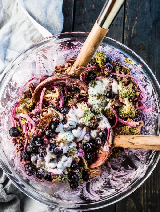 Roasted Broccoli Salad with Blueberries, Bacon and Pecans