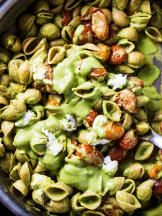 This super simple yet crazy delicious Caprese Pesto Pasta is as good as it gets. The lemony pesto is a creamy blender pesto that is so easy to make. Pour that over pasta and toss with some sauteed cherry tomatoes and mozzarella and dinner is served. It's the perfect Meatless Monday vegetarian supper recipe.   theendlessmeal.com
