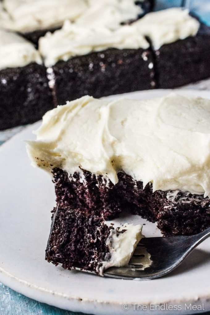 This insanely delicious and totally moist Guinness Chocolate Sheet Cake is topped with a thick layer of Irish whiskey buttercream frosting. It's made in only one bowl and is totally foolproof. The cake also happens to be vegan - but don't make it (or not make it) because of that. Make it because it's the best chocolate cake ever.   theendlessmeal.com   #cake #chocolatecake #irishrecipes #veganrecipes #stpatricksdayrecipes #guinness