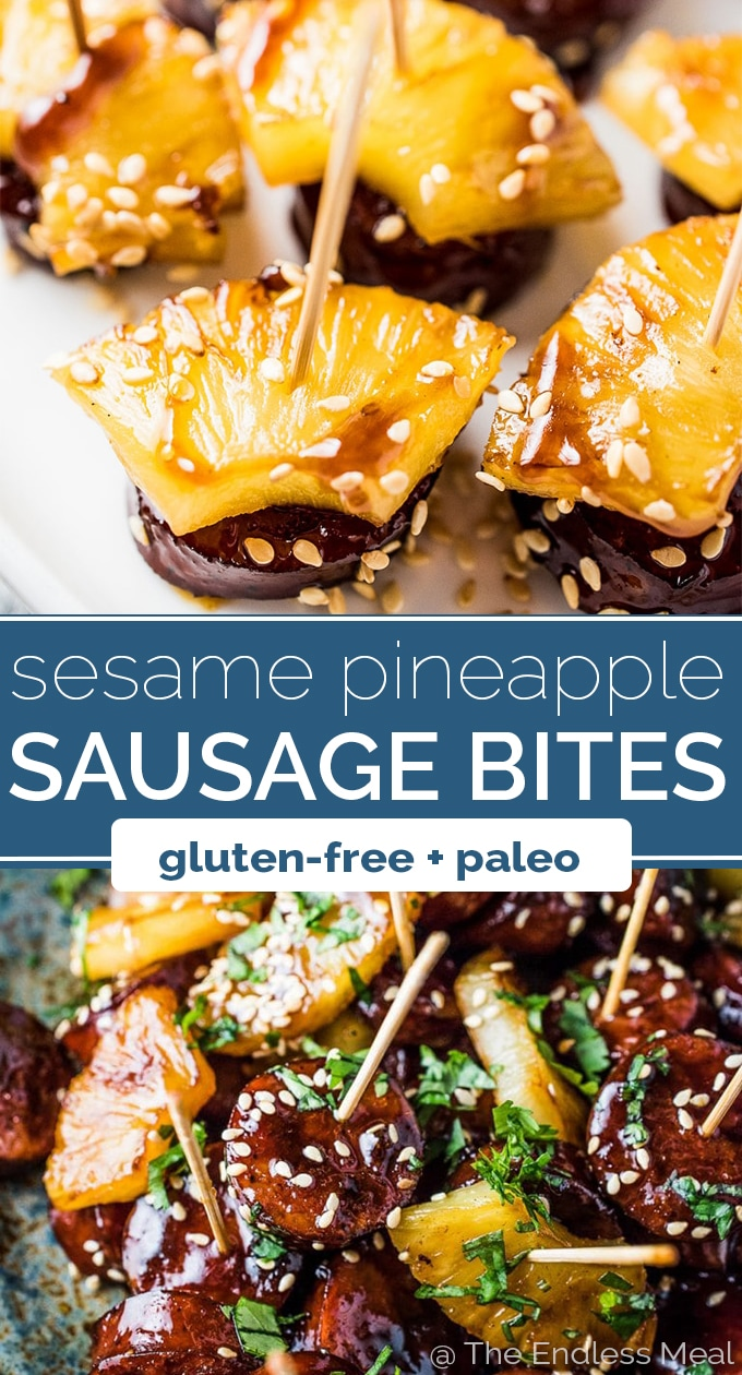 SAVE FOR LATER! These super delicious Pineapple Sausage Bites are an easy to make appetizer perfect for your party. Keep it simple and serve them in a bowl or get fancy and skewer them on toothpicks. Either way, your guests will LOVE these! gluten-free + dairy-free + paleo #theendlessmeal #sausage #grimmsfinefoods #pineapple #sausagebites #appetizer #christmas #partyappetizer #partyfood #paleo #glutenfree #dairyfree