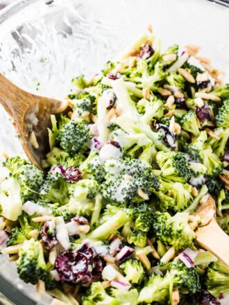 This classic (and healthy!) Broccoli Coleslaw recipe is made with fresh chopped broccoli and loaded with cranberries and slivered almonds and dotted with red onions. The lightly sweet and tangy lemon buttermilk dressing is easy to make and crazy delicious. You definitely want to make this! | vegetarian + gluten-free + refined sugar free | theendlessmeal.com | #coleslaw #broccoli #broccolislaw #slaw #healthyrecipes #healthymeals #kidfriendly #salad #vegetarian #glutenfree