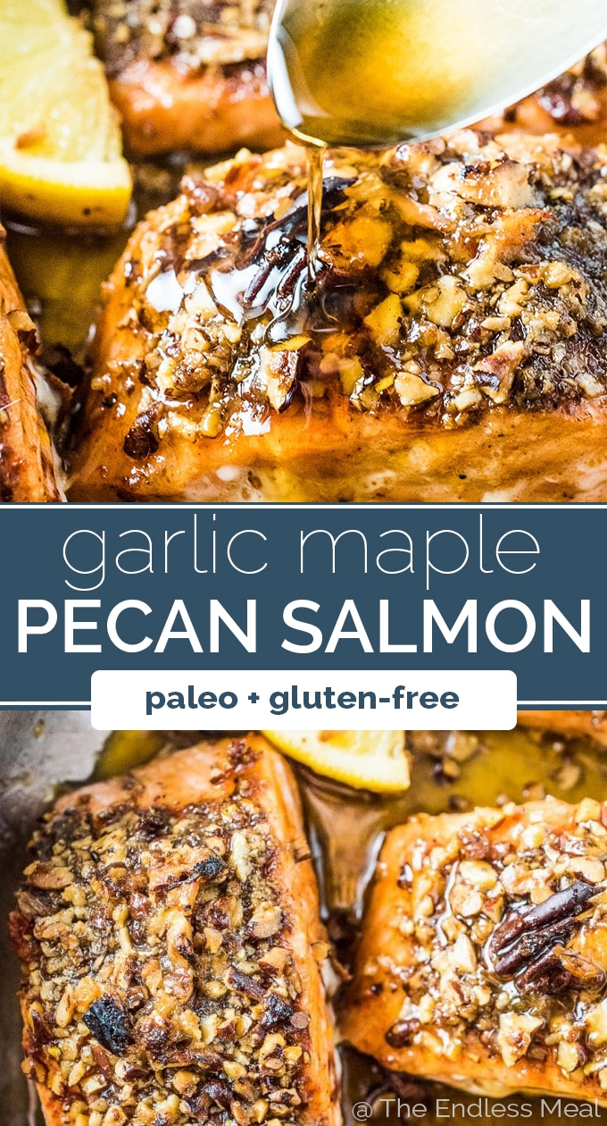SAVE FOR LATER! Pecan Crusted Salmon for the win! This super easy and healthy fish recipe will be a hit with everyone at your dinner table. The salmon is seasoned then coated in toasted pecans and cooked in a delicious maple glaze. You will love it! | gluten-free + paleo + dairy-free option | #theendlessmeal #salmon #pecans #fish #maple #maplesalmon #pecansalmon #healthyrecipes #glutenfree #refinedsugarfree #paleo #easyfishrecipes #glazedsalmon