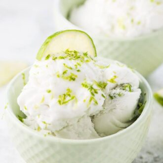 Lime Coconut Sorbet is the ultimate healthy summer treat. It's a super creamy vegan ice cream that has just the right tartness from the lime. It's so easy to make and delicious that you'll want to make it all summer long! | vegan + paleo + gluten-free + refined sugar free | #theendlessmeal #icecream #sorbet #veganicecream #paleoicecream #coconuticecream #limeicecream #dessert #healthyicecream #dairyfreeicecream