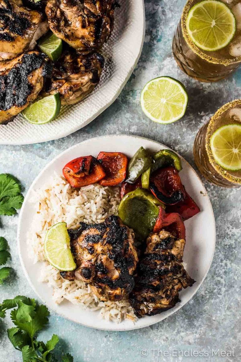 Easy to make and delicious Margarita Chicken is the perfect summer grill recipe. Your favorite cut of chicken is marinated in lime, tequila, and a little agave syrup then popped on the BBQ. You will LOVE it! | gluten-free + dairy-free + refined sugar-free| theendlessmeal.com | #margaritas #chicken #cincodemayo #bbq #chickenrecipes