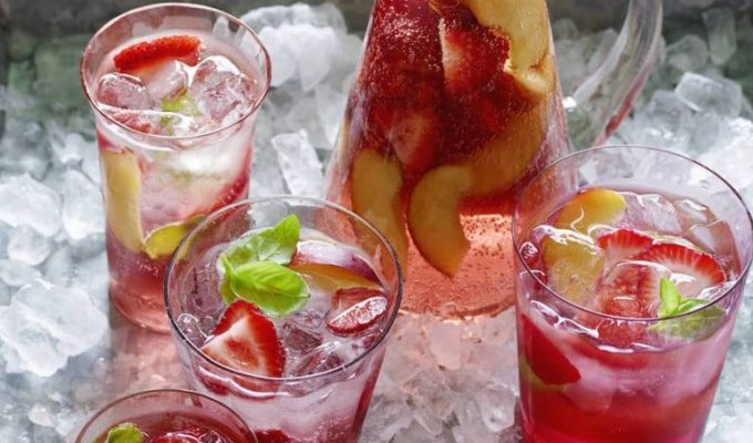 Strawberry + Peach Rose Sangria by What's Gaby Cooking | The 15 Best Summer Cocktails