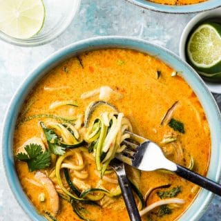 SAVE FOR LATER!   Thai Curry Chicken Zoodle Bowls are crazy flavorful and loaded with good for you ingredients like coconut milk, chicken, and lots of zucchini. This simple recipe can be whipped up in 20 minutes for a quick and easy weeknight meal.   gluten-free + paleo + Whole30 approved   #theendlessmeal #zoodles #chickencurry #chicken #noodlebowls #zoodlebowls #thaicurry #thai #paleo #glutenfree #whole30recipes