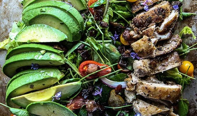 Rosemary Chicken Avocado + Bacon Salad by Heather Christo | The 15 Best Healthy Summer Salads