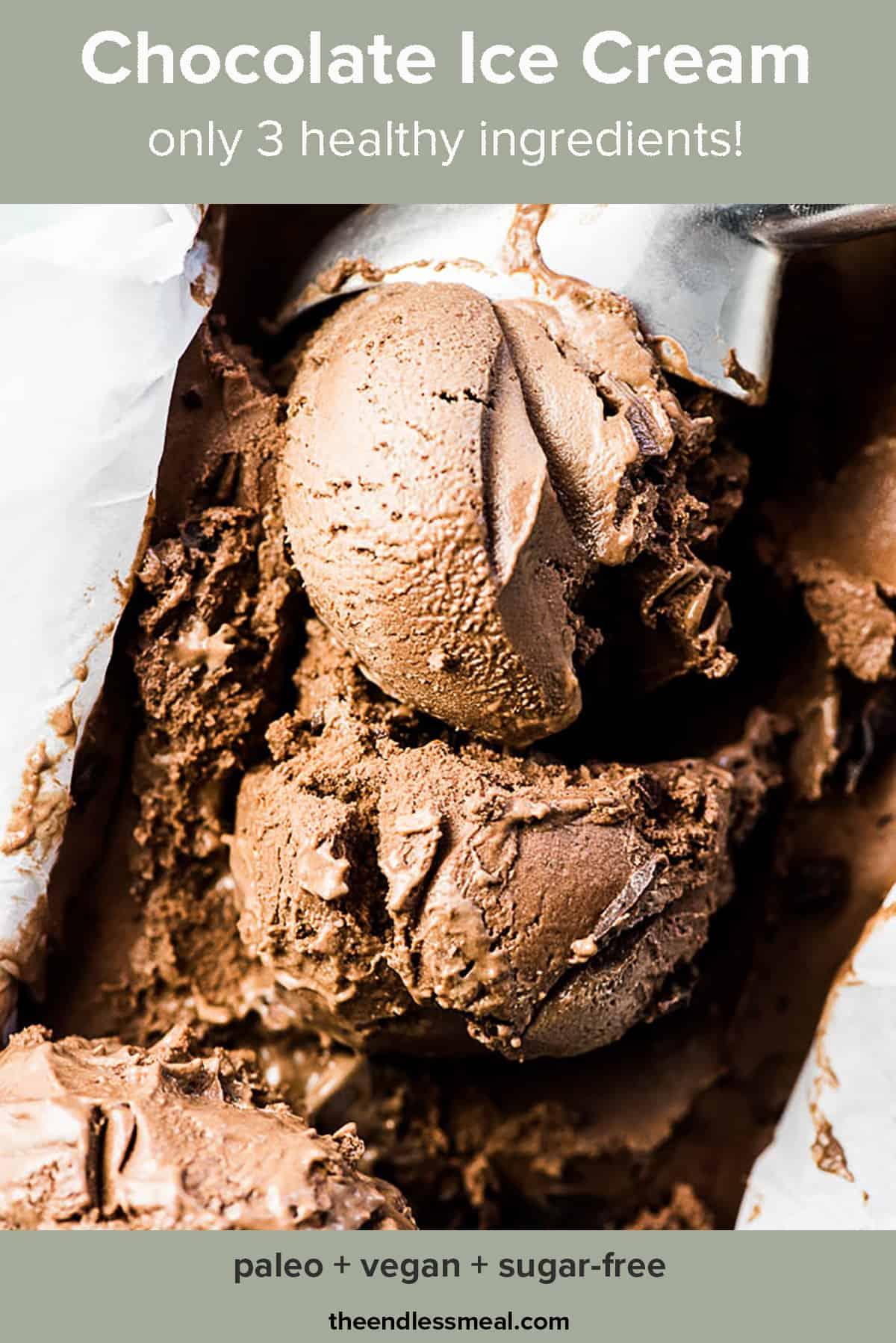 An ice cream scoop making balls of banana chocolate ice cream.