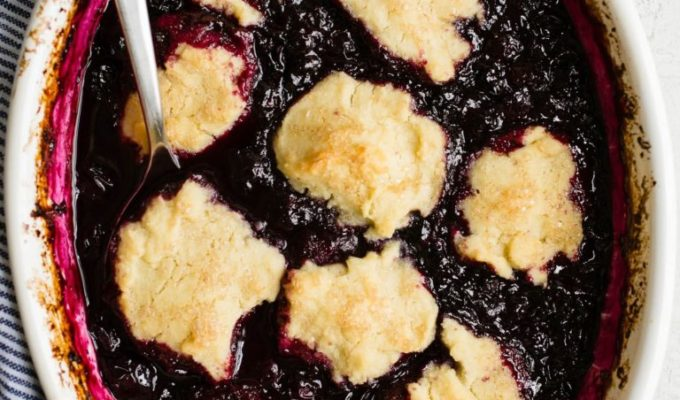 Blueberry Cobbler with Almond Flour Biscuits by Salted Plains | The 15 Best Vegan Summer Desserts