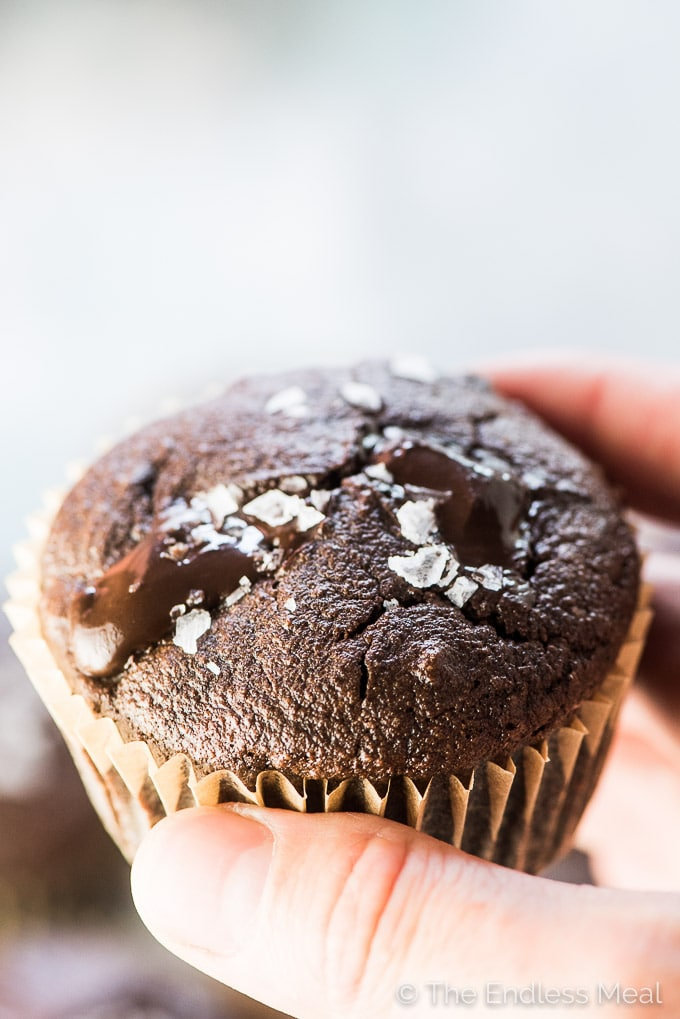A hand holding a still warm chocolate protein muffin with sea salt sprinkled on top.
