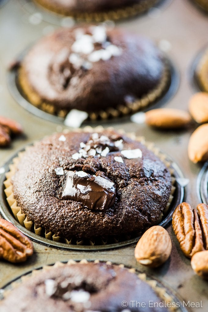 Chocolate Almond Flour Protein Muffins in a muffin tin with almonds and pecans sprinkled around.