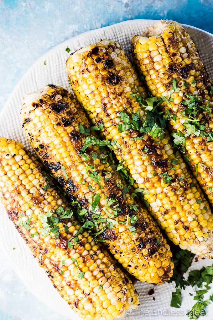 Honey Garlic Corn on the Cob is sweet, sticky, and totally delicious. It's your favorite, easy to make honey garlic sauce spooned onto sweet grilled corn on the cob. You will LOVE it! | vegetarian + gluten-free + refined sugar-free | #theendlessmeal #corn #cornonthecob #honeygarlic #vegetarian #bbq #grilledcorn