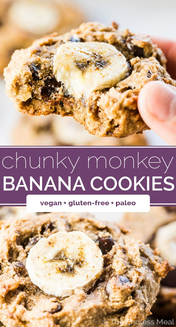 SAVE FOR LATER! Chunky Money Paleo Banana Cookies are chewy and flavorful healthy cookies that are completely grain-free. They taste like dessert but are full of good for you ingredients making them perfect for busy weekday mornings.